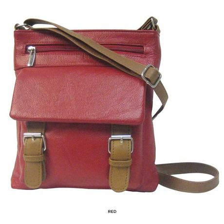 Genuine Cowhide Leather Small Messenger Bag - Black or Red