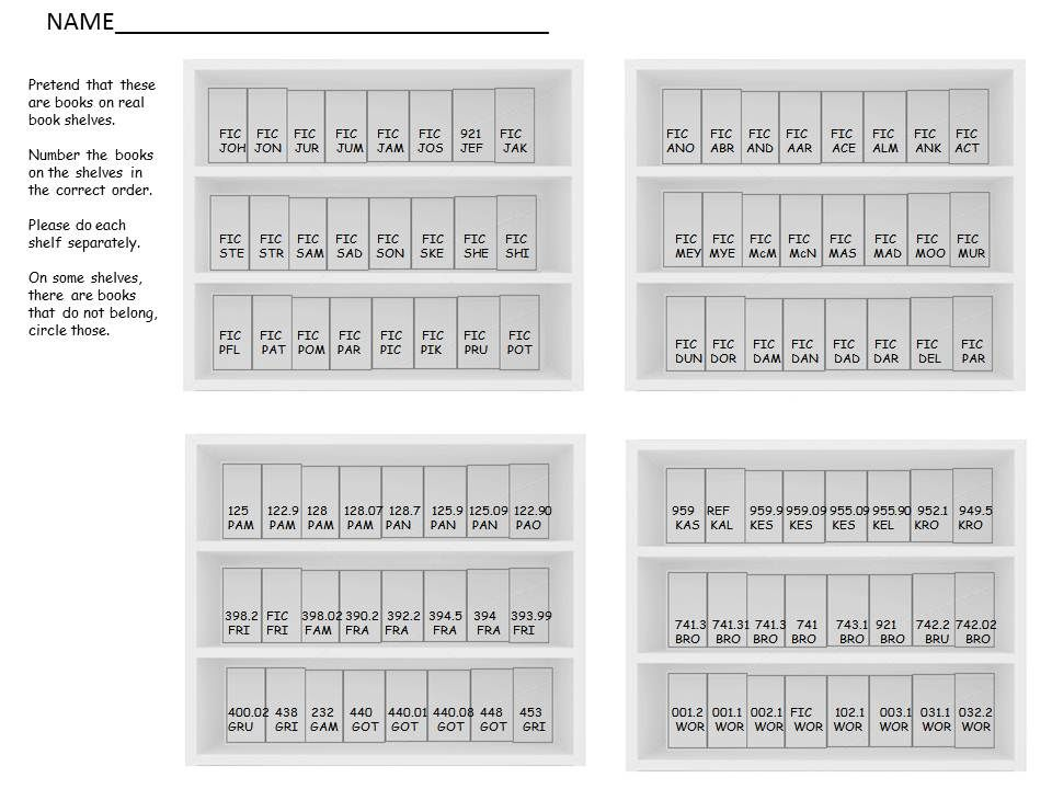 A Worksheet Designed To Help Students Practice Shelving Books In