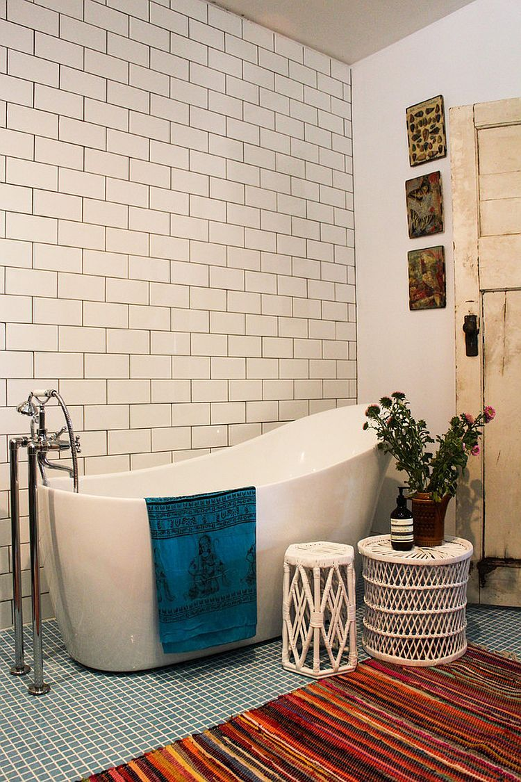 Furnitures, Eclectic Bathroom With Bohemian Furniture Also Modern White  Bathtub Design Also White Tiling Wall With Rectangle Shape Also Modern  Faucet ...