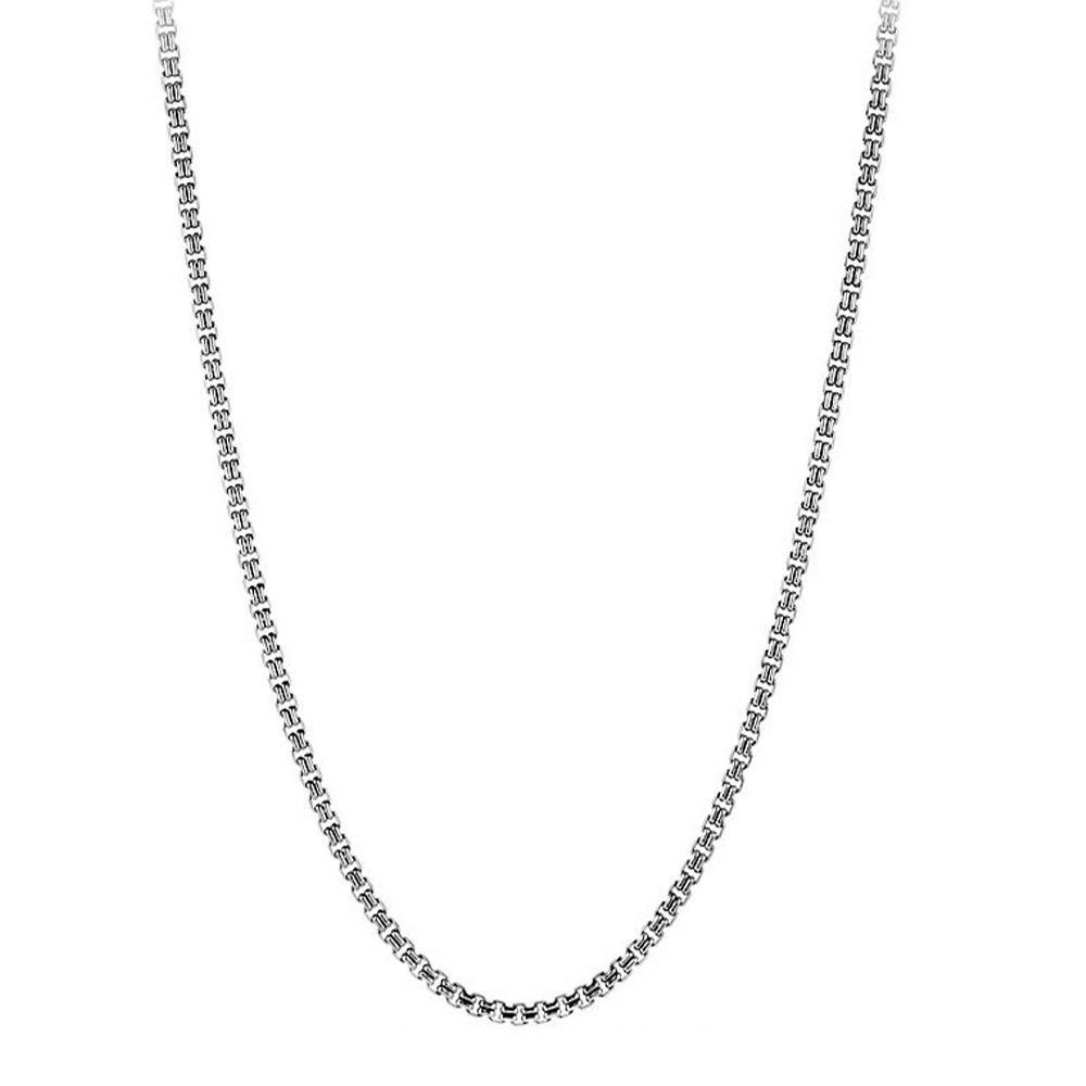 Double Box Stainless Steel Chain Necklace, 3mm