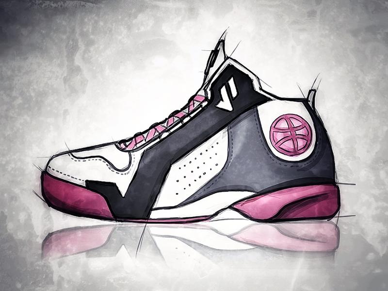 Basketball (Dribbble) Shoe Sketch
