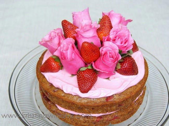 Krisztina Williams: A Pretty Pink Strawberry-Wine Layer Cake