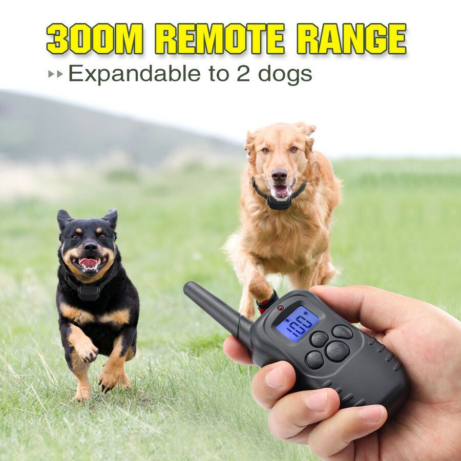 Remote Training Shock Collar Waterproof Rechargeable 100 Level 300 Yard For Dog