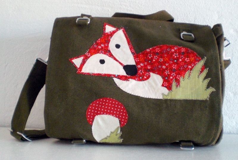 Mr. Fox. Upcycled german army bags