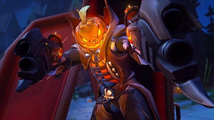 Reaper Halloween Pumpkin Overwatch Game Wallpaper