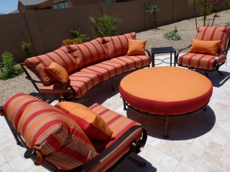 Curved Sofa 2 Swivel Club Chairs Round Ottoman. Patio Furniture.