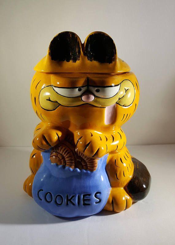 Garfield Cookie Jar Vintage Hand Painted Garfield Cookie Jar 1984 Ceramic Garfield