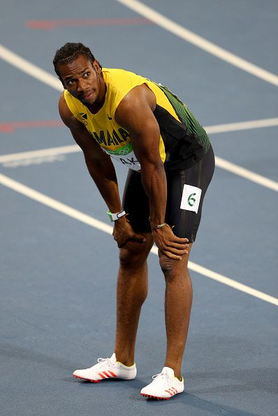 Yohan Blake of Jamaica reacts after competing in the Men's 200m Semifinals on… | Rio 2016 ...