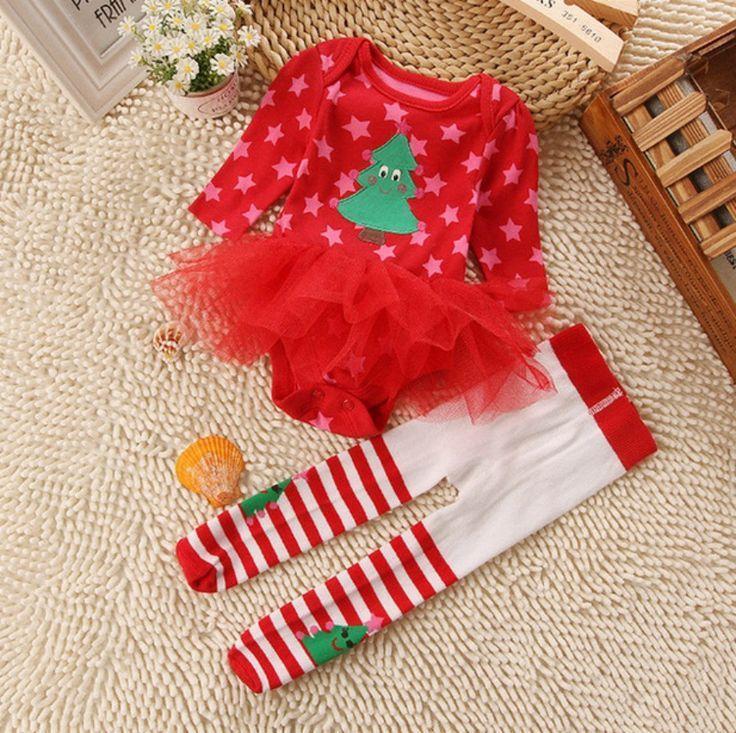 Pre Order Baby Girls Stripe Christmas Tree Dress Girls Christmas