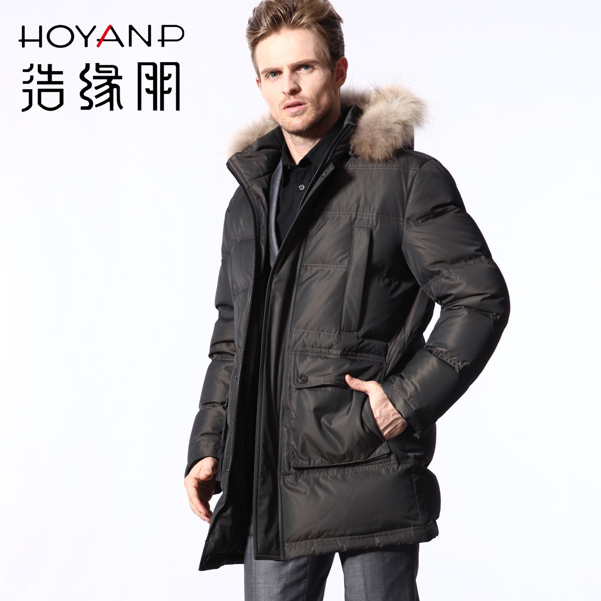 $413.75 - Mens Fur Coats Solid Zipper Fur Collar Pockets Duck Down ...