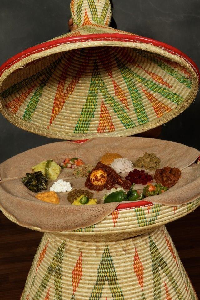 Messob with food  Ethiopia  Ethiopia Traditional