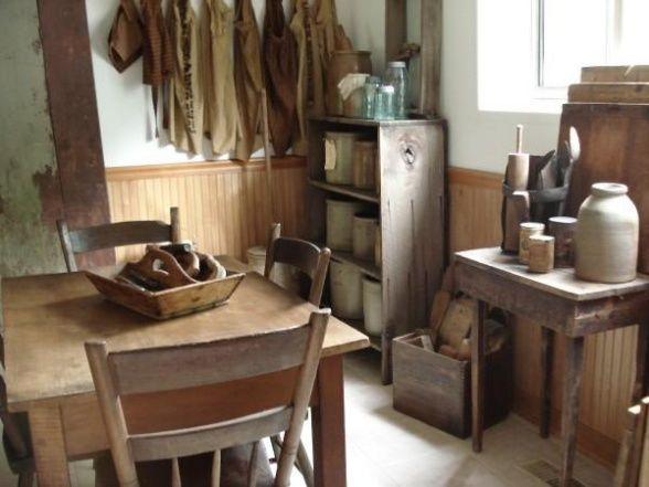 Primitive Kitchen, Early 1800s Primitive Kitchen