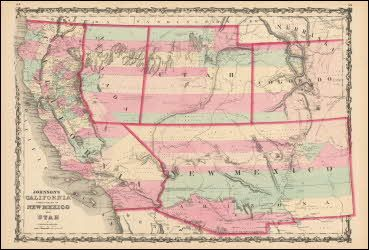 Nevada California New Mexico Antique Map Johnson 1862. California and Territories of New Mexico, Utah, Nevada and Colorado antique map original. This large double page vintage map of California and Territories of Nevada, New Mexico, Utah, Nevada and Colorado comes from the 1862 Johnson's New Illustrated Family Atlas. Published by Johnson and Browning successors to J.H. Colton & Co. at No. 86 Cedar Street New York, NY in 1862.