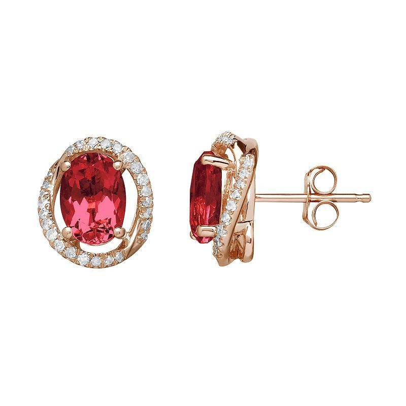 Ruby & 1/8 Carat T.W. Diamond 10k Rose Gold Halo Button Stud Earrings, Women's, Red