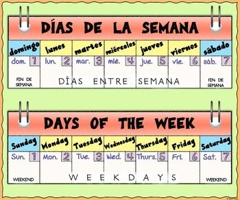 Bilingual Days Of The Week Calendar Poster Spanish And English
