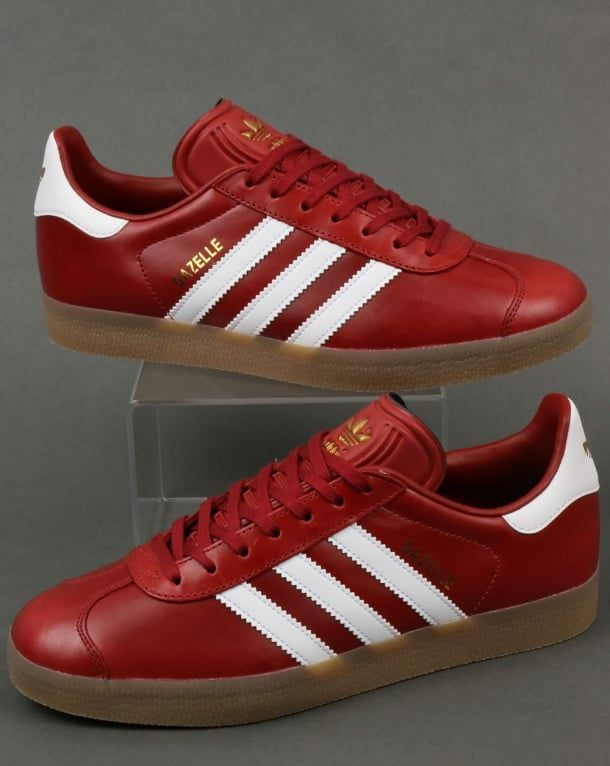 Adidas Gazelle Leather Trainers Oxblood Red/White/gum   Adidas ...