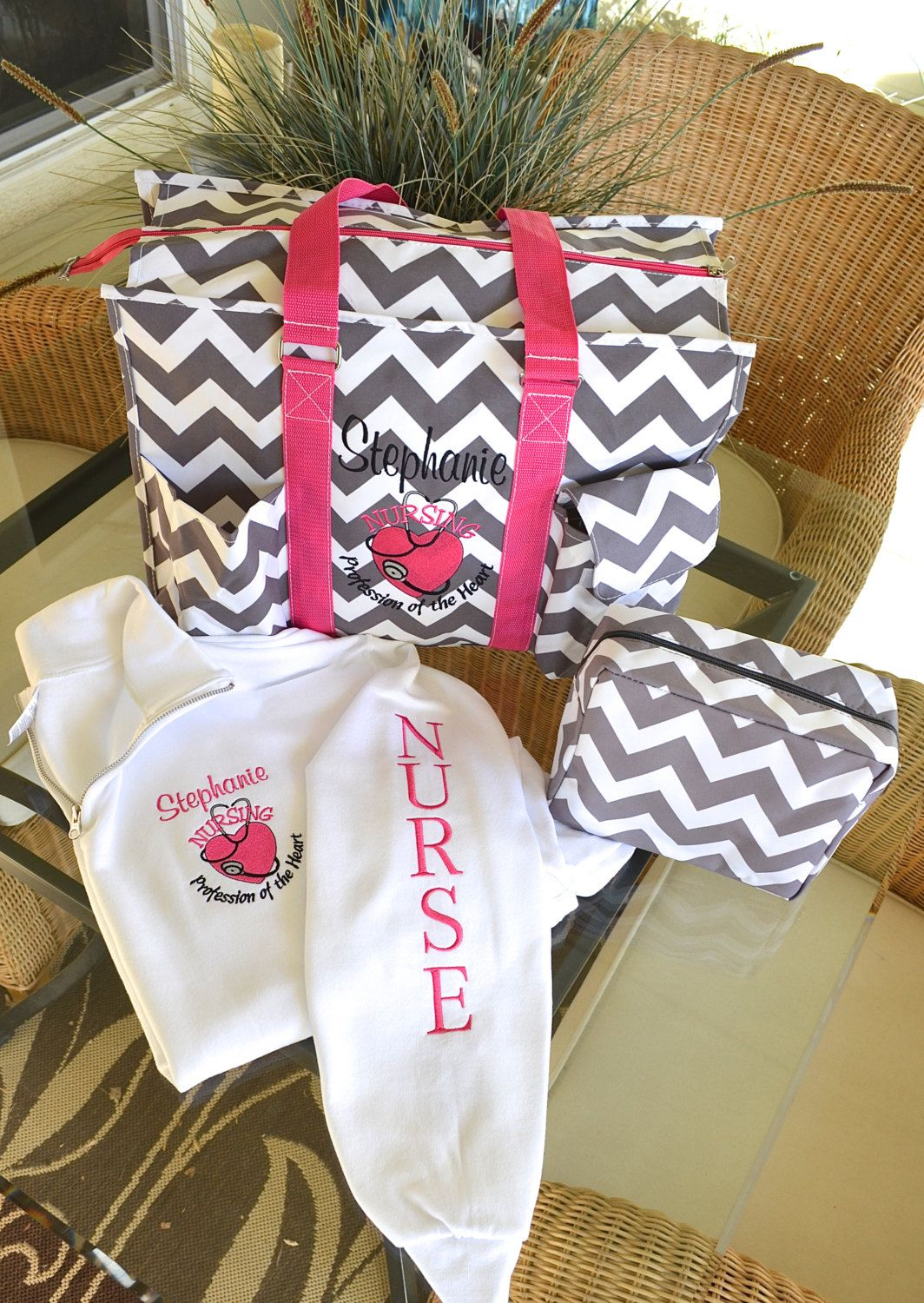 nurse u0026 39 s tote bag set  16 u0026quot  tote  1  4 zip pullover monogrammed  2 day shipping   by