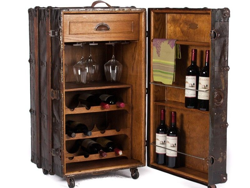 Trunk Bar Cabinet Rustic Storage Cabinets Wine Storage Cabinets Vintage Steamer Trunk