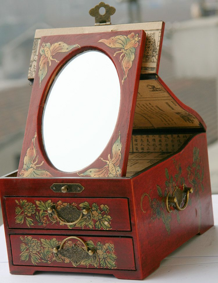 two layers of drawers with mirror antique jewelry box