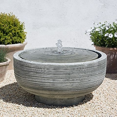 Featuring A Clean Round Zen Inspired Design The Girona Outdoor Fountain From Campania Is Crafted Of Cast Stone And Plugs Into Standard Outlet
