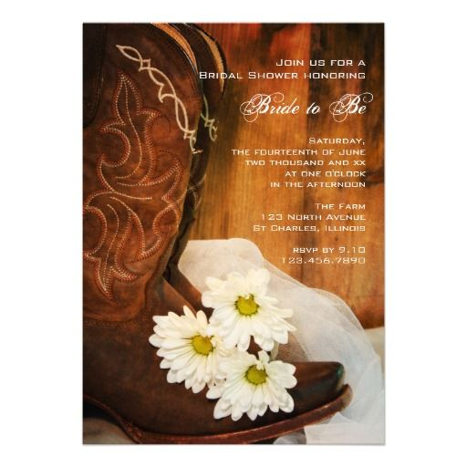 Daisies and Boots Country Bridal Shower Invitation at http://www.zazzle.com/daisies_and_boots_country_bridal_shower_invitation-161850315748204097?rf=238505586582342524