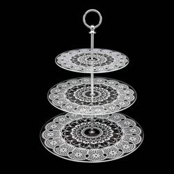 Doily Lace Three Tier Glass Server Fancy Flours Tiered Stand Tiered Tray 3 Tier Serving Tray