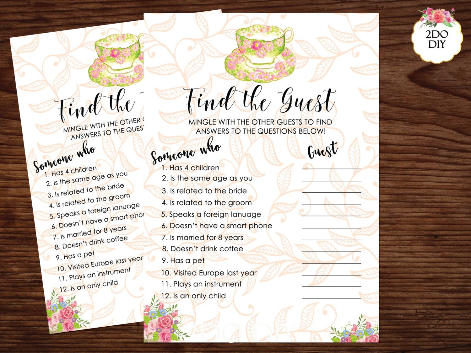 Find The Guest Bridal Shower Game Find The Guest Printable Tea Bridal Shower Game