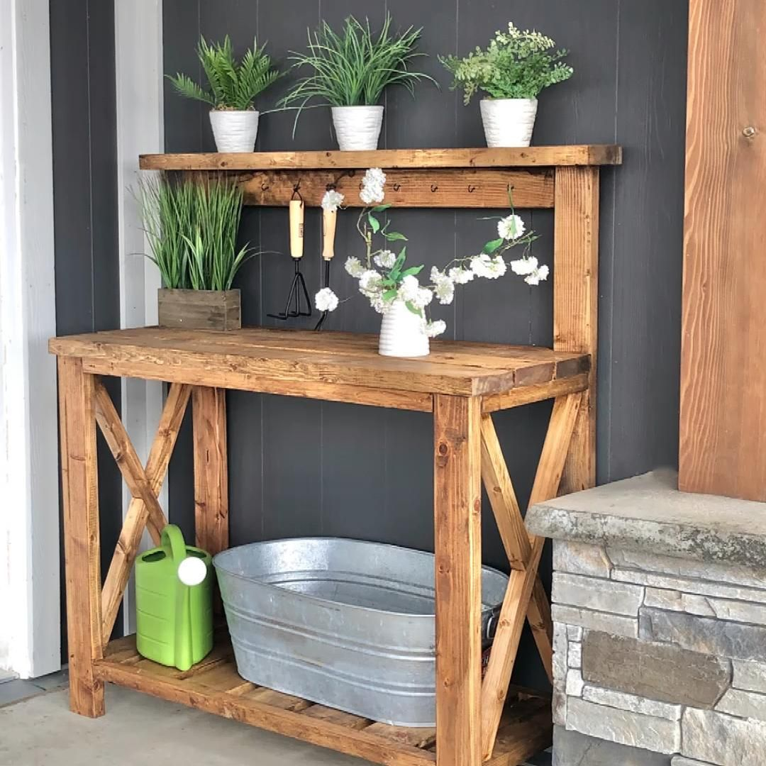 Build your own potting bench with basic tools and off the shelf lumber.  Free step by step plans from Ana-White.com
