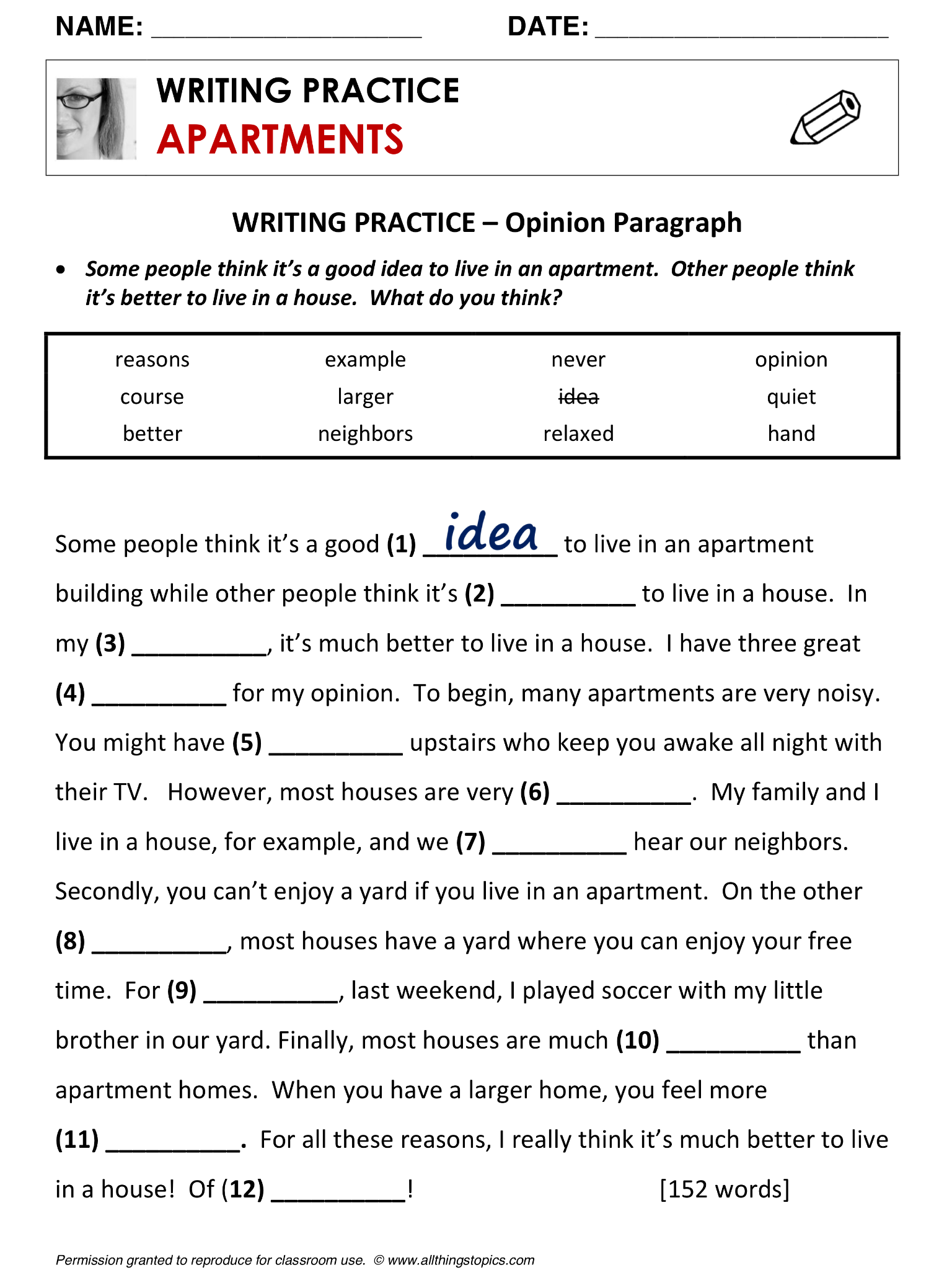 Apartments and Houses, Quiz, vocabulary, ESL, English phrases, http ...
