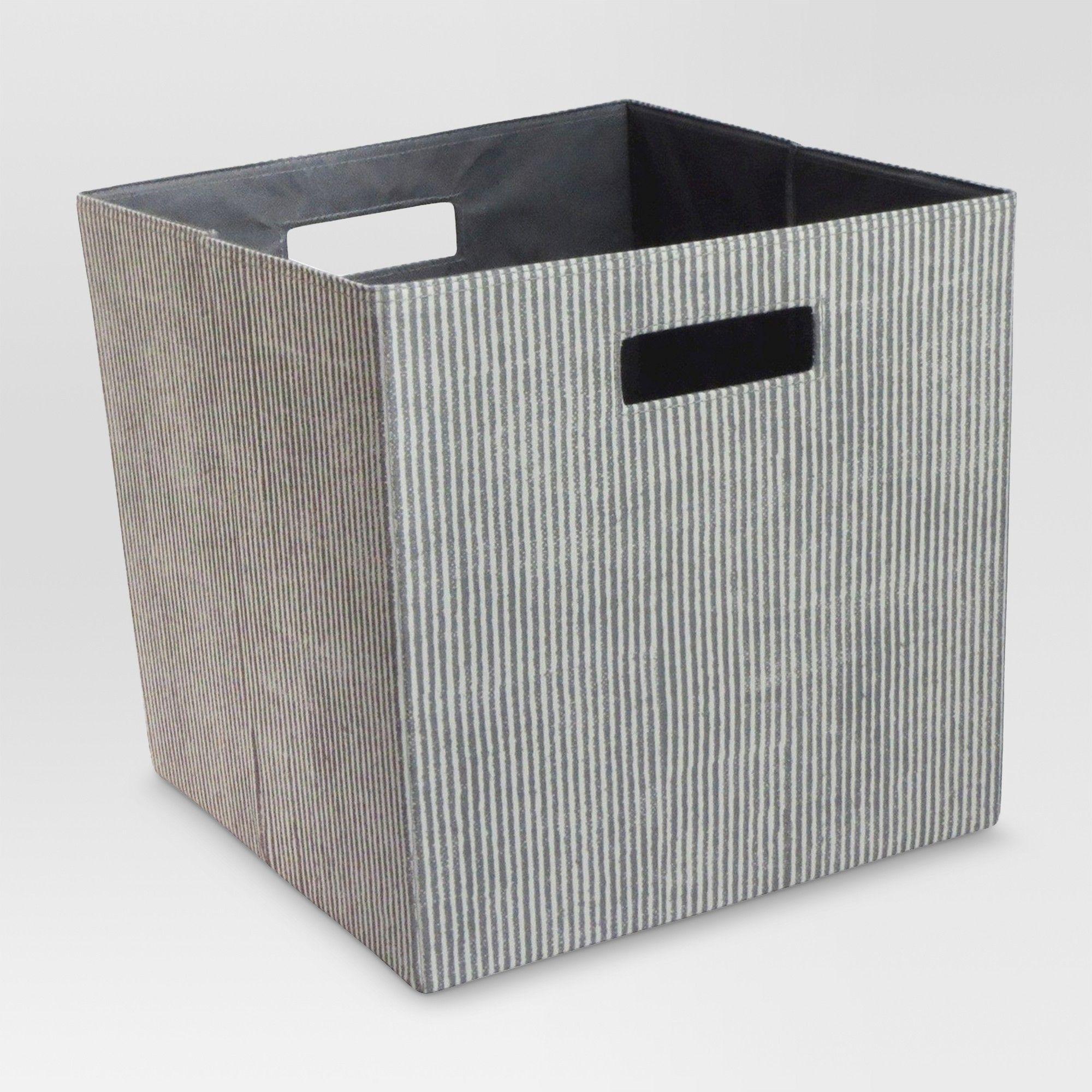13 Fabric Cube Storage Bin Striped Gray Threshold Cube Storage Bins Cube Storage Storage Bin