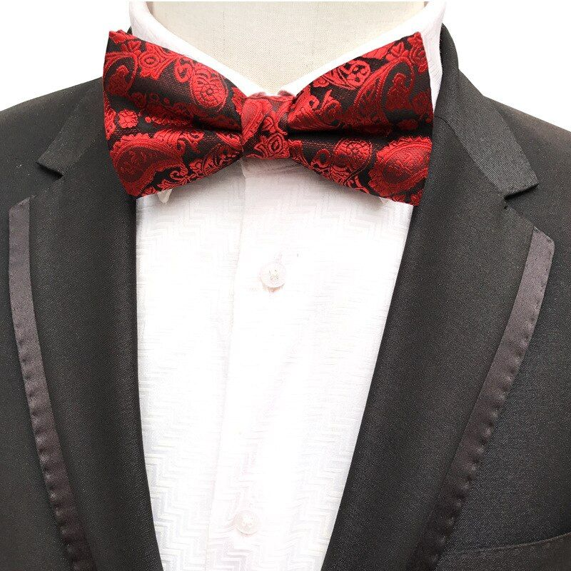 Fashion Mens Tie Classic Formal Tuxedo Handmade Printing Business Dress Floral Wedding Bow Tie Necktie