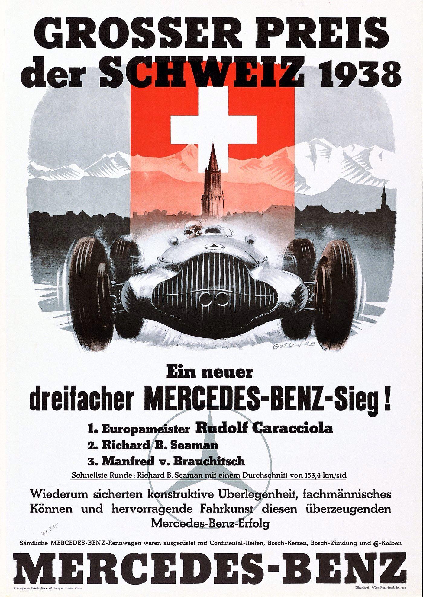 1938 swiss grand prix mercedes benz poster auto posters pinterest grand prix benz and. Black Bedroom Furniture Sets. Home Design Ideas