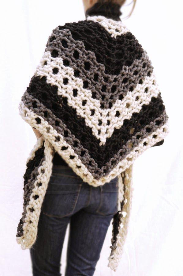 Knit 1 La The Scrappy Triangle Scarf Knit Crochet Patterns