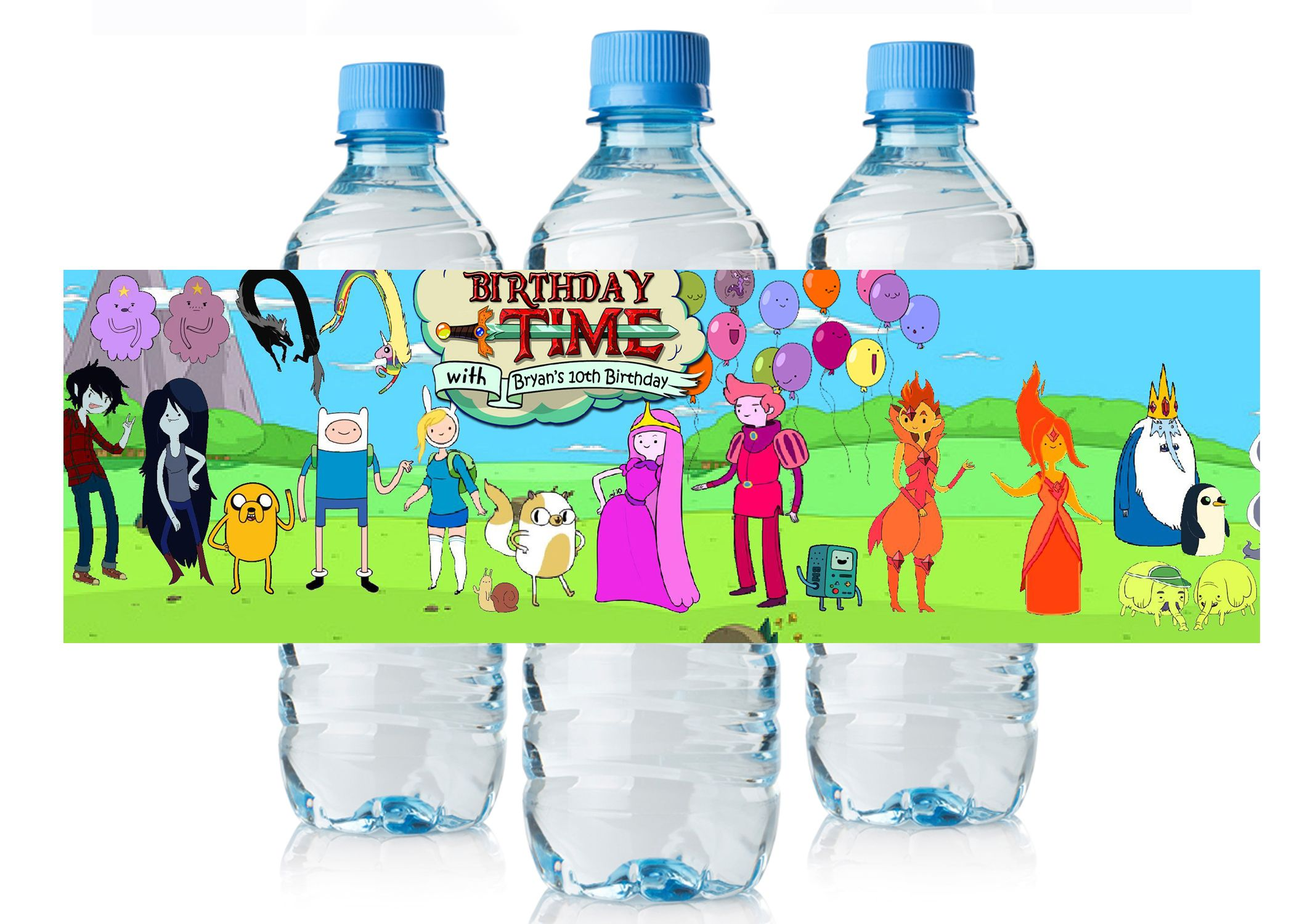 Adventure Time Birthday water bottle labels $3.99 | Adventure Time ...