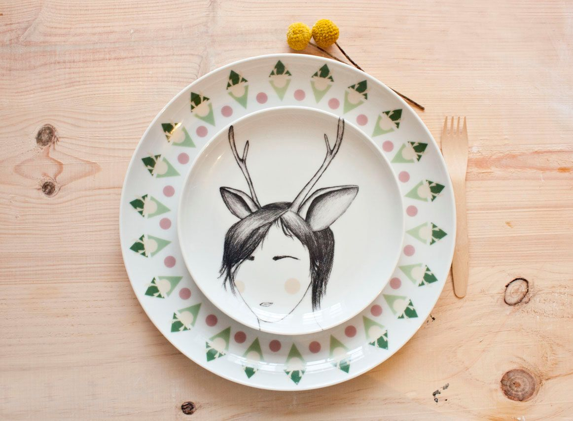 Pattern of deer woman - Carnival collection - Dinner Plate. €30.00, via Etsy.