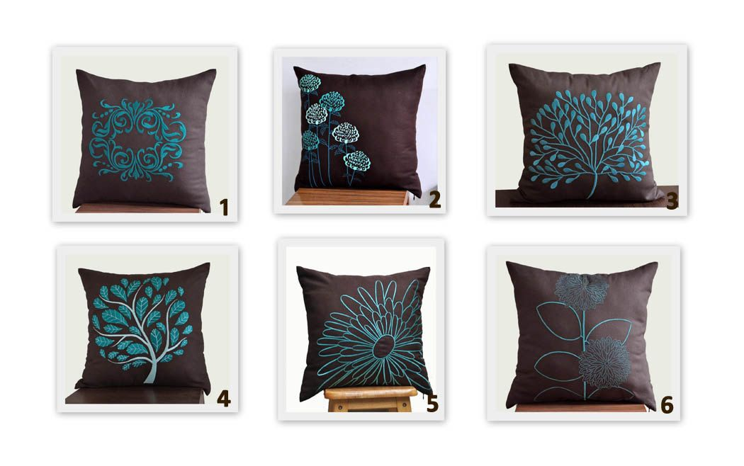 Brown Teal Turquoise Throw Pillow Covers, Set of 2 Pillow Covers 18 x 18, TurquoiseTeal Flower ...