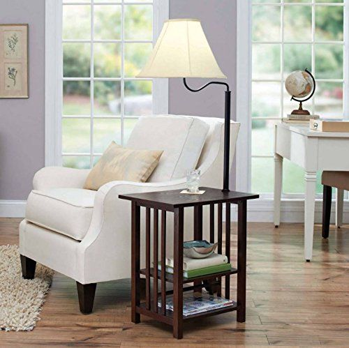 Combination Floor Lamp End Table With