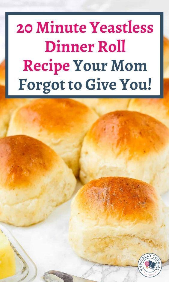 20 Minute Yeastless Bread Recipe Dinner Rolls   No