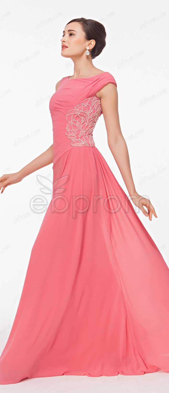 Pink modest beaded prom dress long | Prom dresses long modest ...