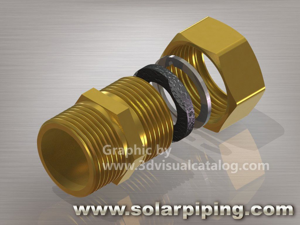 Compression fitting with silicon sealant and male thread for Copper to plastic fittings