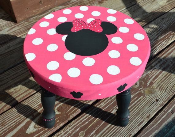 Hand painted Minnie Mouse wooden stool pink by SweetBrisDesigns, $42.95