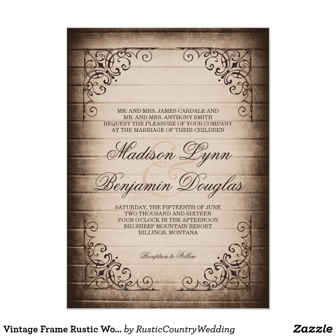 Vintage Frame Rustic Wood Wedding Invitations | Wedding & Bridal ...