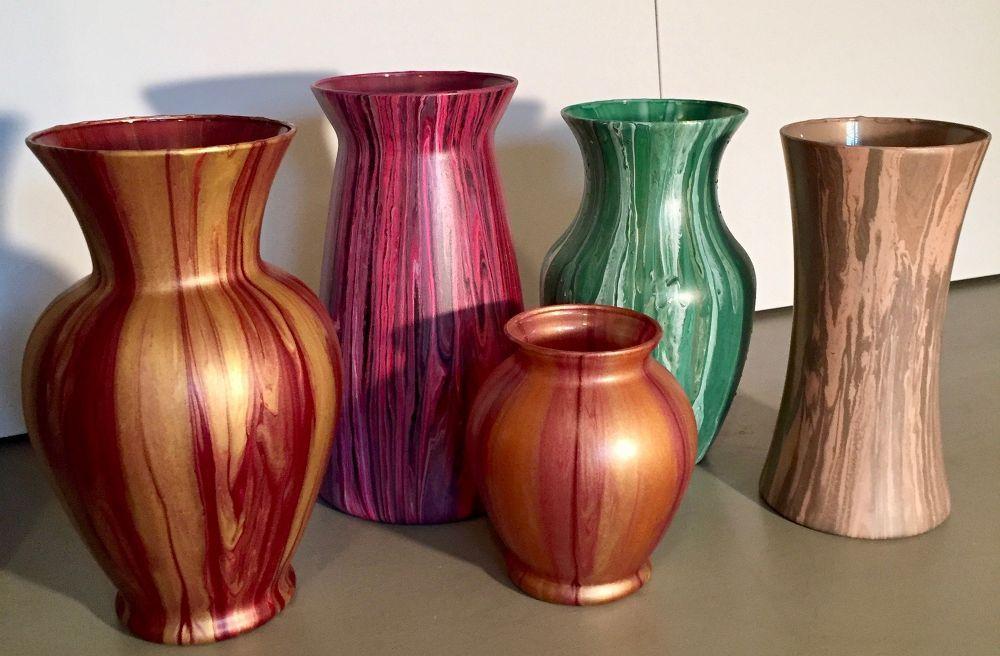 Diy Paint Pouring Vase Decor Painted Glass Vases Vases Decor