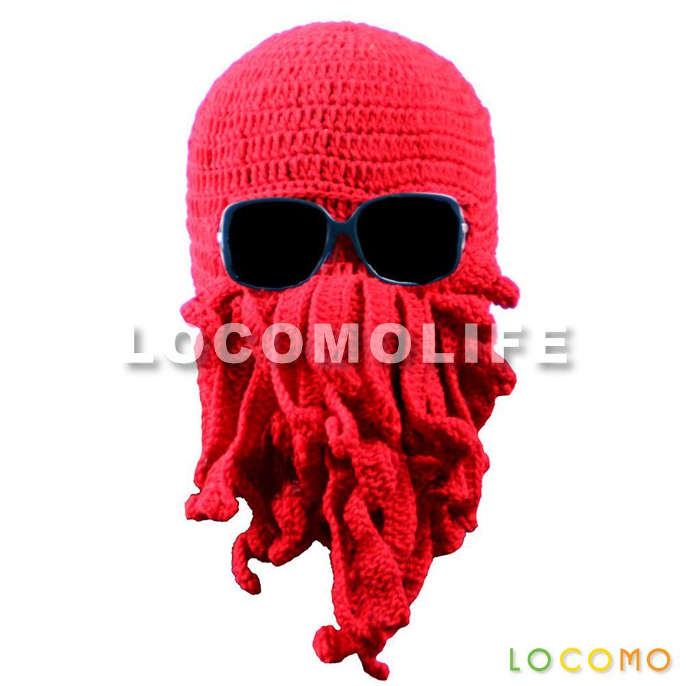 Men Women Octopus Cthulhu Knit Beanie Ski Mask Red | LOCOMOLIFE.com ...