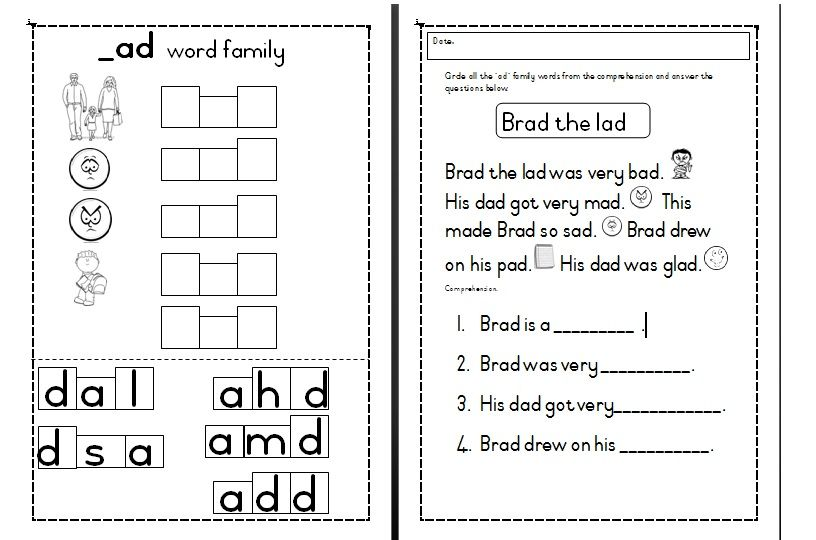 FREE*** downloadable worksheets ad word family activities ...
