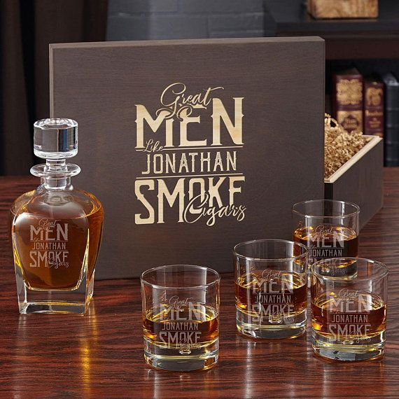 074f3c04904 Great Men Smoke Cigars Engraved Liquor Decanter and Scotch Glass Box ...