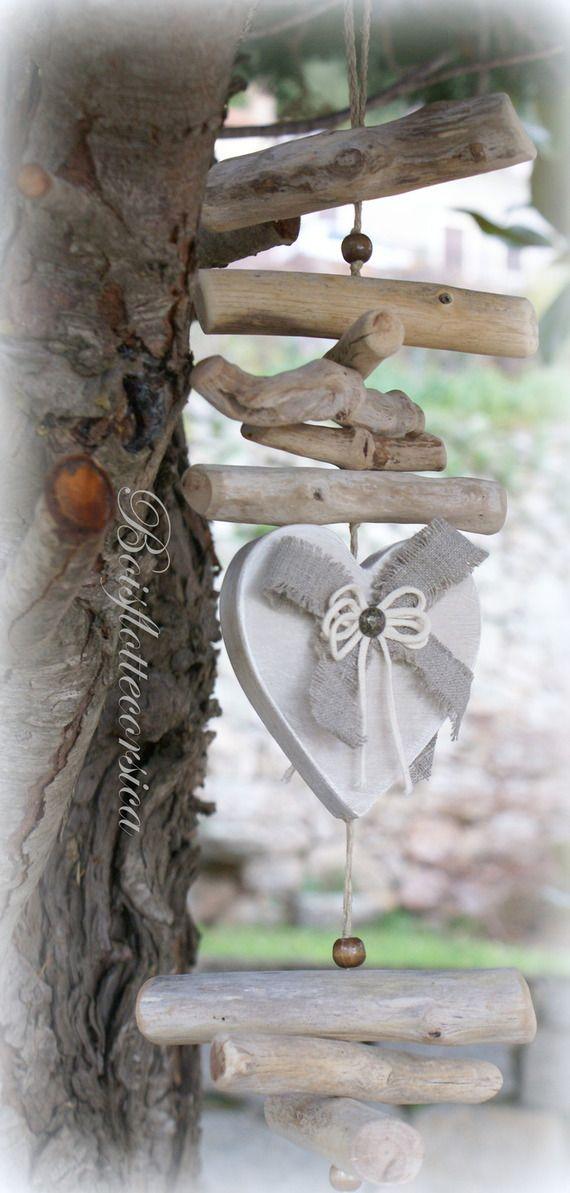 grande guirlande bois flott 5 coeurs en bois patin id e cadeau saint valentin. Black Bedroom Furniture Sets. Home Design Ideas