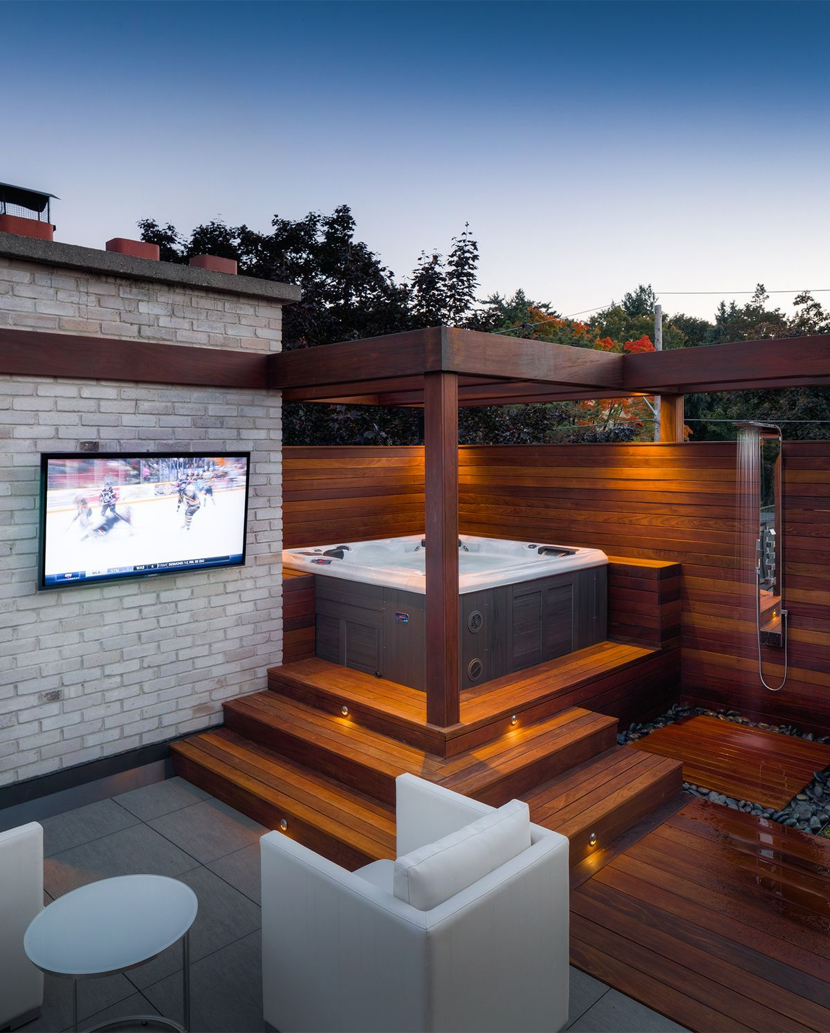 We Love This Modern Hot Tub Design With Outdoor Tv And Shower Hot Tub Backyard Hot Tub Patio Hot Tub Gazebo Modern outdoor hot tub