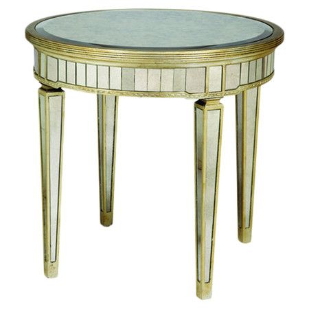 Round Mirrored End Table With An Antiqued Silver Trim. Product: End  TableConstruction Material: