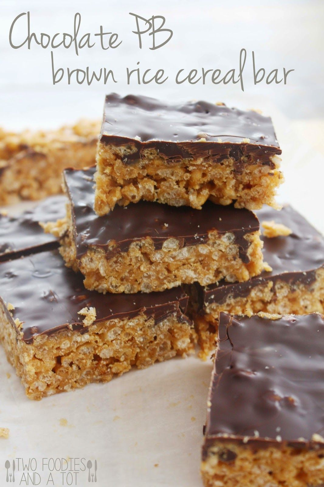 Chocolate peanut butter brown rice cereal bar